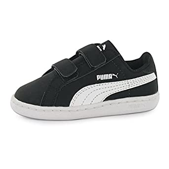 Puma Kids Smash Fun Infants Boys Velcro Casual Court Trainers Shoes  Sneakers Black/White UK