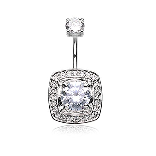 Inspiration Dezigns 14G Classic Grand Essentia Belly Button Navel Ring Cubic Zirconia - Navel Double Ring Gem Belly