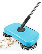 JZ 360 Degree Rotation Mute Hand Push Floor Tiles Household Sweeper 3 in 1 Broom & Dustpan & Mop - Blue