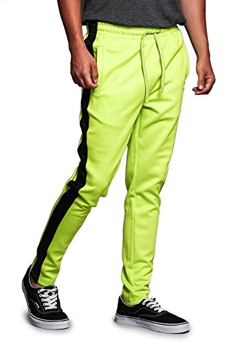 (Victorious Men's Regular Cuff Non-Ankle Zip Contrast Outer Side Stripe Slim Fit Stretch Drawstring Track Pants TR522 - Frozen Yellow/Black - X-Large - S1C)