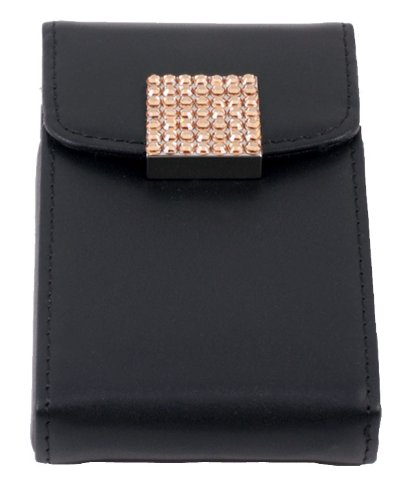 Leather Card Holder with Gold Swarovski Crystal Decoration