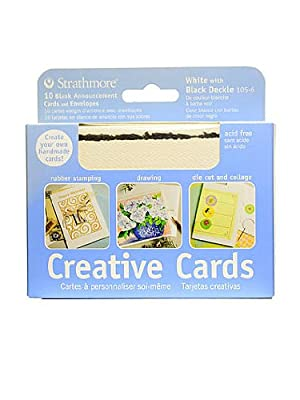 Strathmore Announcement Card fluorescent white with black deckle