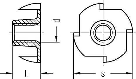 Dresselhaus Einschlagmuttern mit 4 Einschlagspitzen wahlweise M5 M8 - d: 8,0mm, h: 11mm, s: 22mm, 12 M6 M8 und M10