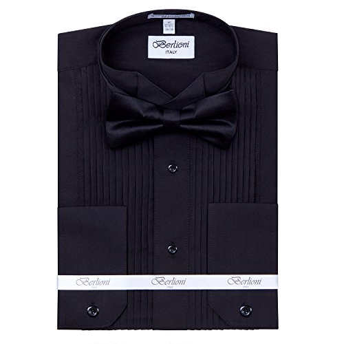 Men's 14″ Pleat Black Wing Collar Tuxedo Shirt with Black Bowtie X-Large 34/35