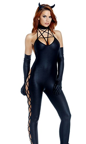 Devil Sexy Costumes Adult Jumpsuit (Forplay Women's Guilty Pleasure Sexy Devil Costume, Black, S/M)