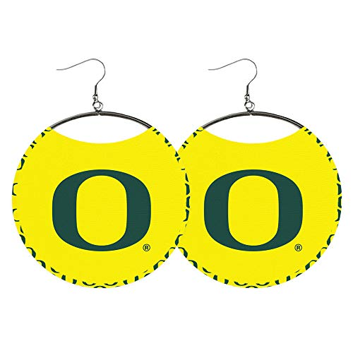 - Oregon Ducks Earrings for women - University of Oregon Fan, NCAA Officially Licensed, UO Logo, Green and Yellow - Fabric, College Game Day, Tailgate Outfit