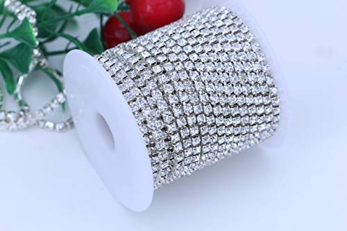 BLINGINBOX Rhinestones Chain - 10 Yards/R 4 Sizes Crystal/Crystal AB Glass Sew On Rhinestones Cup Chain With Silver/Gold Button Sew On Trim(ss16-4mm,Crystal-Silver Bottom) ()