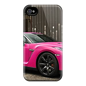 Flexible Tpu Back Case Cover For Iphone 4/4s - Nissan Gtr In Matte Pink