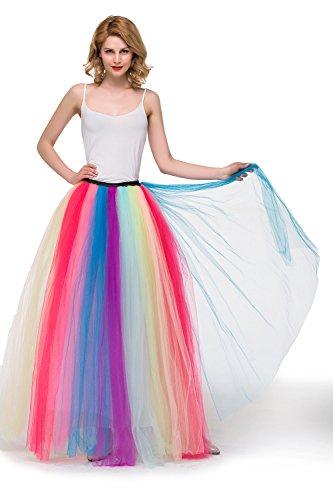 Women's Ankle Length Tutu Skirt Rainbow Tulle Underskirt Half Slips