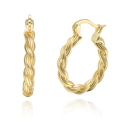 18k Gold Plated Rope Twisted Hoop Earrings Sterling Silver 19mm for Women Girls