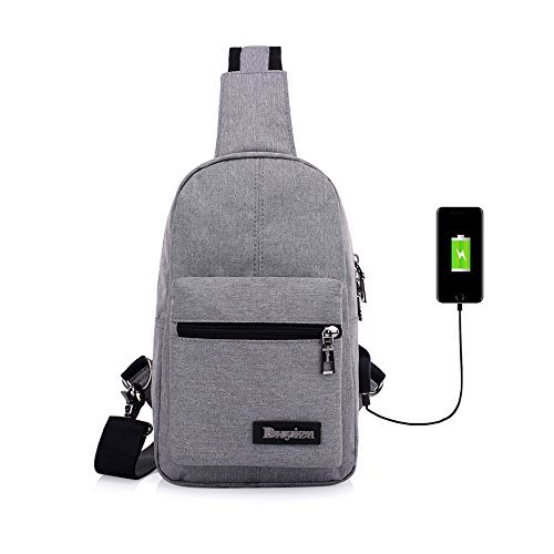 Sling Bag Shoulder Pack Chest Backpack USB Charging Port Crossbody Canvas Rucksack Headphone Holes Design Unisex Women Men for Outdoors Hiking Cycling Casual Travel Running Sport (Gray)