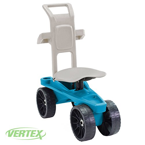 Easy Up Deluxe XTV Rolling Garden Seat and Scoot - Adjustable Swivel Seat, Heavy Duty Wheels, and Ergonomic Design To Assist Standing, Sitting, and Bending Over Made in the USA (Deluxe XTV Teal) by Vertex