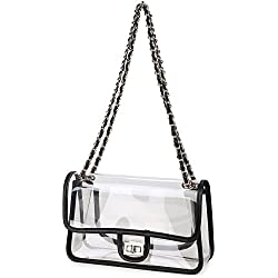 Lam Gallery Womens Clear Purse Handbags NFL Stadium Approved Clear Bags for Football Games Turn Lock Chain Shoulder Crossbody Bags Transparent PVC Vinyl Plastic Bag See Through Bag for Work Black