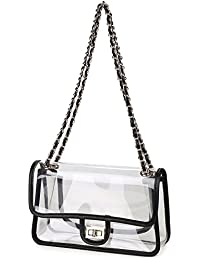 Womens Clear Purse Turn Lock Handbags Chain Shoulder Bags NFL Approved Bags