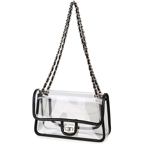 (Lam Gallery Womens Clear Handbag Purses NFL Stadium Approved Clear Bag for Football Games Turn Lock Chain Shoulder Crossbody Bags Transparent PVC Vinyl Plastic Bag See Through Bag for Work Black)
