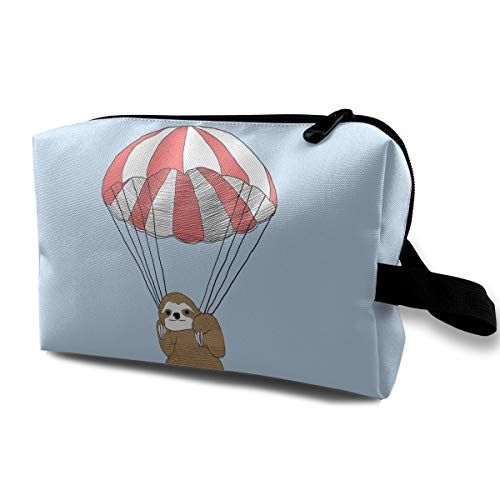 LEIJGS Parachute Sloth Small Travel Toiletry Bag Super Light Toiletry Organizer for Overnight Trip -