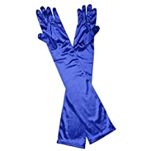 Generic LONG STRETCH SATIN BRIDAL WEDDING COSTUME DANCE PROM DRESS OPERA GLOVES NEW - Blue
