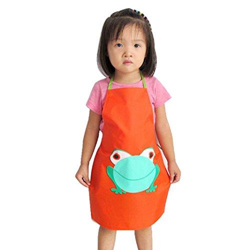 [Iuhan 1PC Kids Children Waterproof Frog Print Apron Paint Eat Drink Outerwear (Orange)] (18 Month Frog Costume)