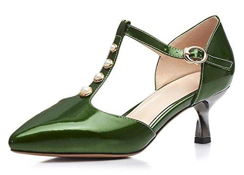 Verano zapatos de tacón alto de las sandalias de Baotou fina con perlas Green