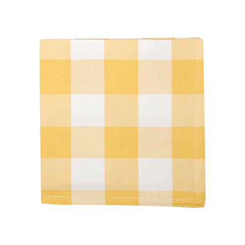 C&F Home Franklin Buffalo Check Gingham Plaid Woven Sunrise Yellow and White Cotton Napkin 18x18 Napkin Sunrise Yellow (Yellow Gingham Napkins)