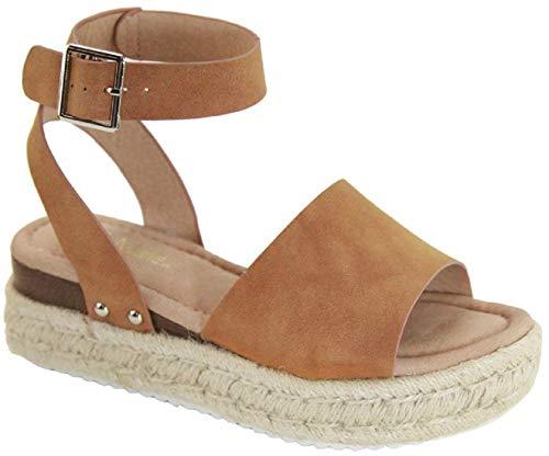 Bella Marie Bessy-1 Women Flatform Platform Espadrille Ankle Strap Open Toe Sandal Wedge Camel 8