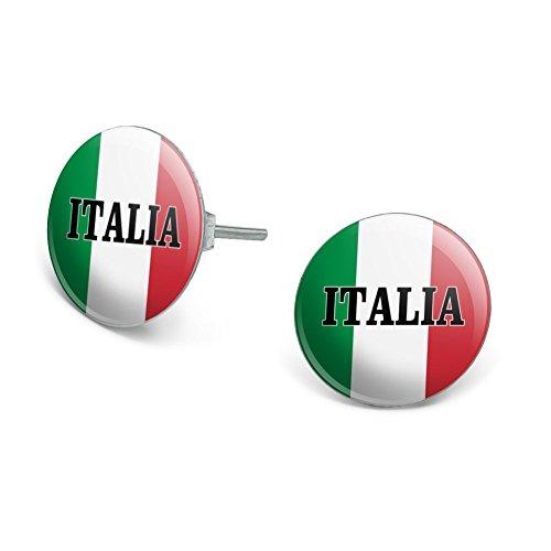 (GRAPHICS & MORE Italia Italy Italian Flag Novelty Silver Plated Stud)