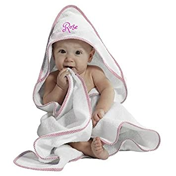 Personalised Embroidered Baby Hooded Bath Towel Cuddle Wrap