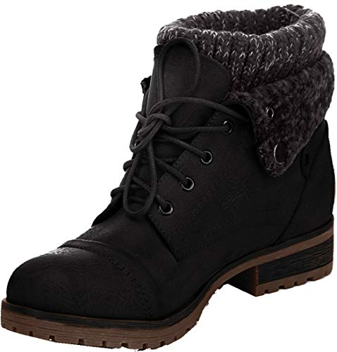 REFRESH WYNNE 01 Women's combat style lace up ankle bootie size 8
