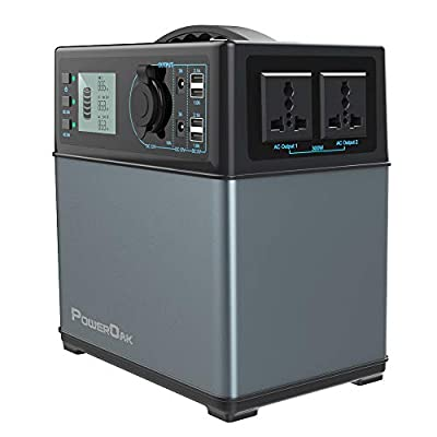 POWEROAK 400Wh Portable Power Solar Generator Lithium ion power supply for Emergency Camping backup power source with 300W DC/AC Power Inverter,12V Car DC/AC/USB Outputs, Charged by Solar Panel/AC/Car