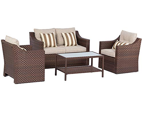 SOLAURA Outdoor Fully Woven 4-Piece Conversation Furniture Set All Weather Brown Wicker Beige Cushions & Sophisticated Glass Coffee Table (Walmart Clearance Furniture Outdoor)