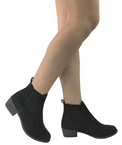 Rosegirl Women's Chelsea Ankle Bootie Faux Suede Leather Round Toe Flat Heel Combat - stylishcombatboots.com