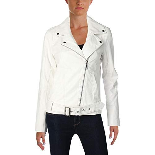 Guess Womens Fall Heart Moto Coat White ()