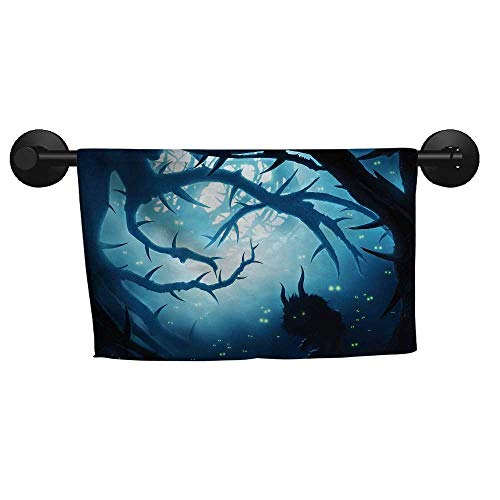 alisoso Mystic Decor,Decorative Towels Animal with Burning Eyes in Dark Forest at Night Horror Halloween Illustration Quick Dry Towel W 14