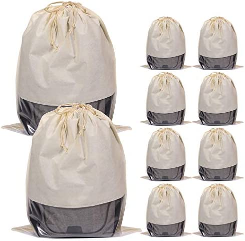 10 Pack Jumbo Dustproof Drawstring Bags Dust Covers Large Non-Woven Fabric Cloth Storage Pouch String Bag for Handbags Purses, Beige