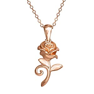Disney Beauty and the Beast, Sterling Silver Rose Pendant Necklace, 18″ Chain