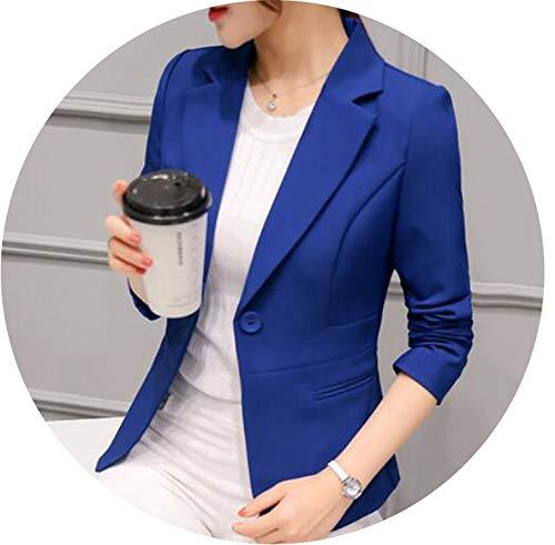 2019 Blazer Jackets Women Blazer Pink Long Sleeve Blazers Solid One Button Coat Slim Office Jacket Tops Suit,Royal Blue 297RX,XXL