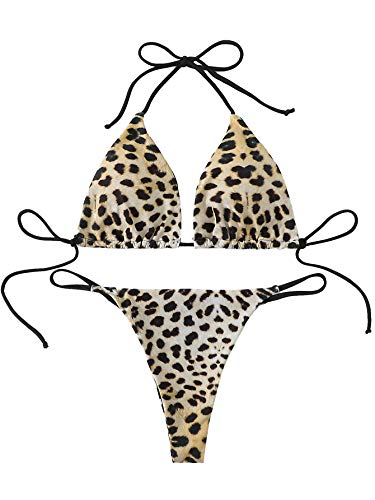 SweatyRocks Women's Sexy Bathing Suits Strappy Halter Leopard Thong Triangle Bikini Set Multi S (Leopard Triangle)