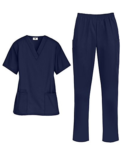 (Women's Medical Uniform Scrub Set - Includes V-Neck Top and Elastic Pant (XS-3X, 14 Colors) (Large, Navy))