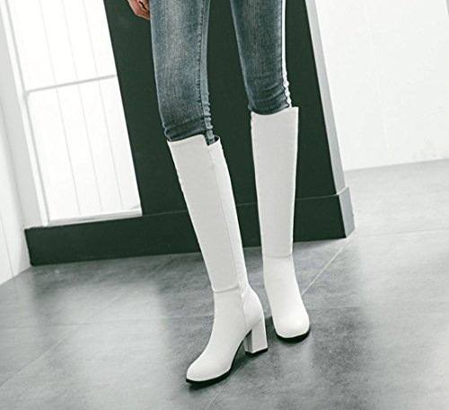 Verschluss Aisun Heels Langschaft Damen Stiefel Ohne High Blockabsatz Kunstleder Weiß 701U7