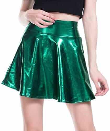 7002d6d290 JXG Women Metallic Casual Clubwear Pleated Fashion Faux Leather Mini Skirt