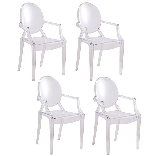 2xhome - Set of 4 - Clear - Modern Designer Louis Ghost Armchairs with Polycarbonate Crystal Clear Transparent Plastic
