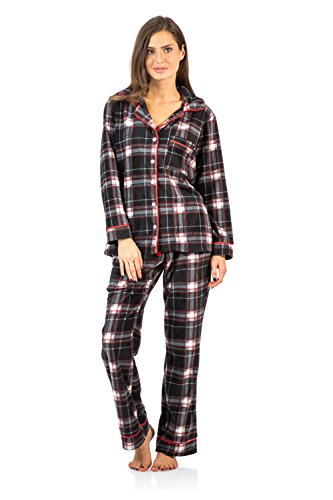 Ashford & Brooks Women's Long Sleeve Minky Micro Fleece Pajama Set- Black/White- XL