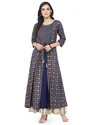 Indian Women Designer Kurta Kurti Bollywood Tunic Ethnic Pakistani Top Crepe Kurtis Dress Tunics Cotton Tops Blouse Style Long Silk (XL)
