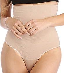 Women Waist Shapewear Thong Tummy Control Body Shaper Cincher Underwear Girdle Thongs High Waisted Wear Slimmer Panties Beige M L