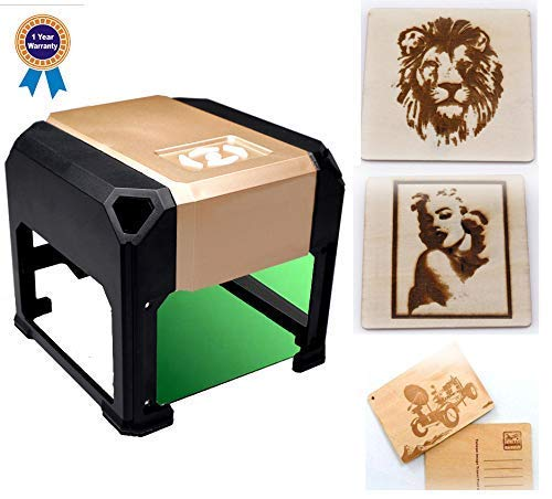 laser engraving machine Laser Engraver Printer 3000mW Mini desktop laser engraver machine DIY Logo laser engraver 7.5X7.5CM (3000mW) (3000mW) by GanGou
