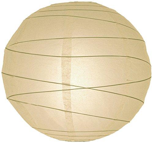 "Quasimoon 12"" Beige / Ivory Round Paper Lantern, Crisscross Ribbing, Hanging Decoration by PaperLanternStore"
