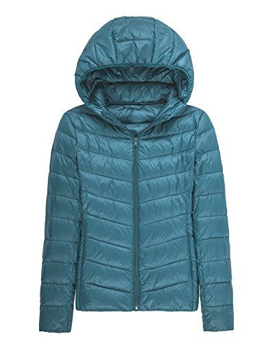 CHERRY CHICK Women's Ultralight Puffer Down Jacket With Hood (M, Lake Blue-17)