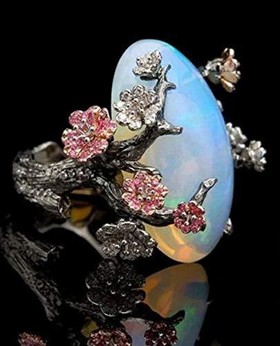 - Campton 925 Silver Ring Women Jewelry Wedding Fire Opal Plum Flower Party Size 5-10 | Model RNG - 12498 | 7