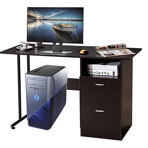 bofeifs Sturdy Computer Table Desk 2 Shelves Resistant Wooden 47 Brown