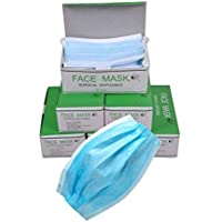 tecmac New Disposable Surgical 3 Ply Face Mask with elastic and Filter -Pack of 50 pcs (Blue)